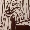 Snowdrops in Vase. Linoprint