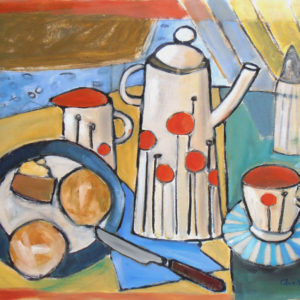 painted still life of coffee set