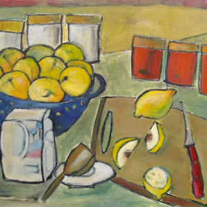 still life painting of fruit