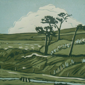 reduction linoprint of landscape