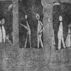 etching print of figures