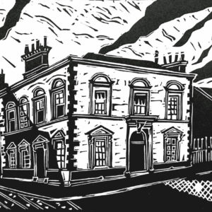 linoprint of buildings