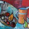 Plums on Plate. Oil on canvasboard