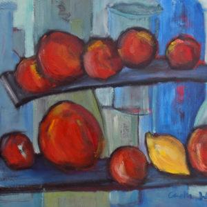 still life oil painting Apples on Shelf