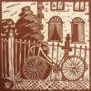 Bicycle. Linoprint