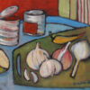 Garlic on Board. Oil on canvasboard