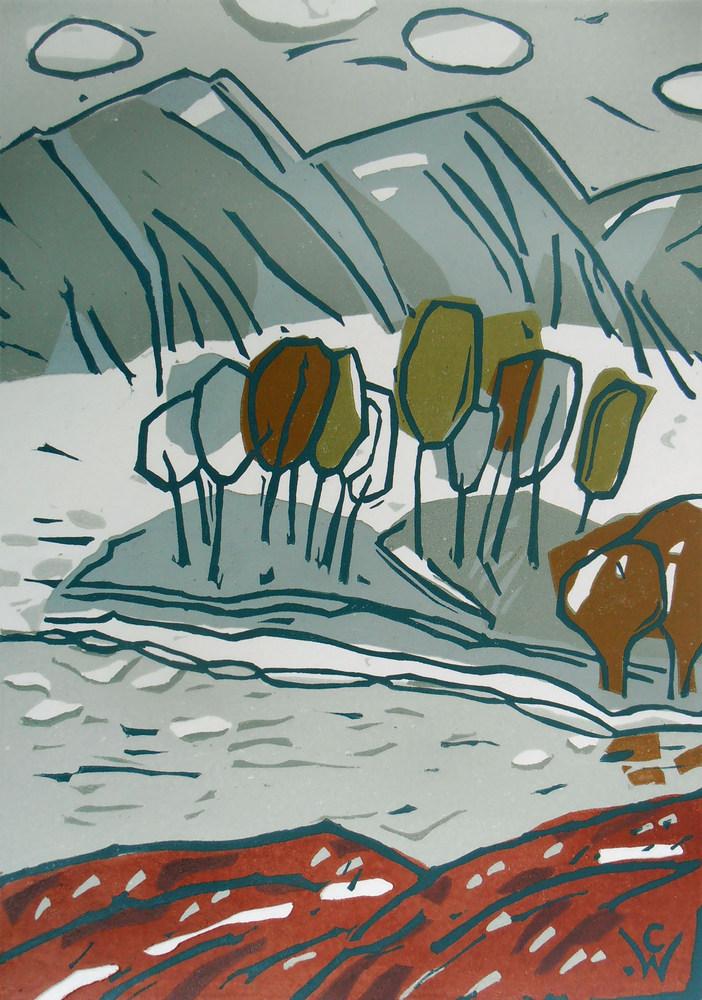 linoprint Highland Loch