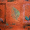 Willow orange closeup. Block print on fabric