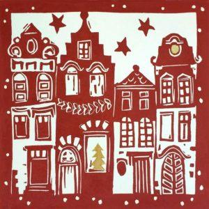 linoprint Christmas card Christmas Town