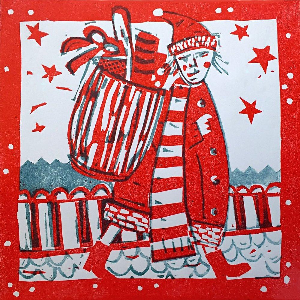 linoprint Christmas card Santa on the Roof