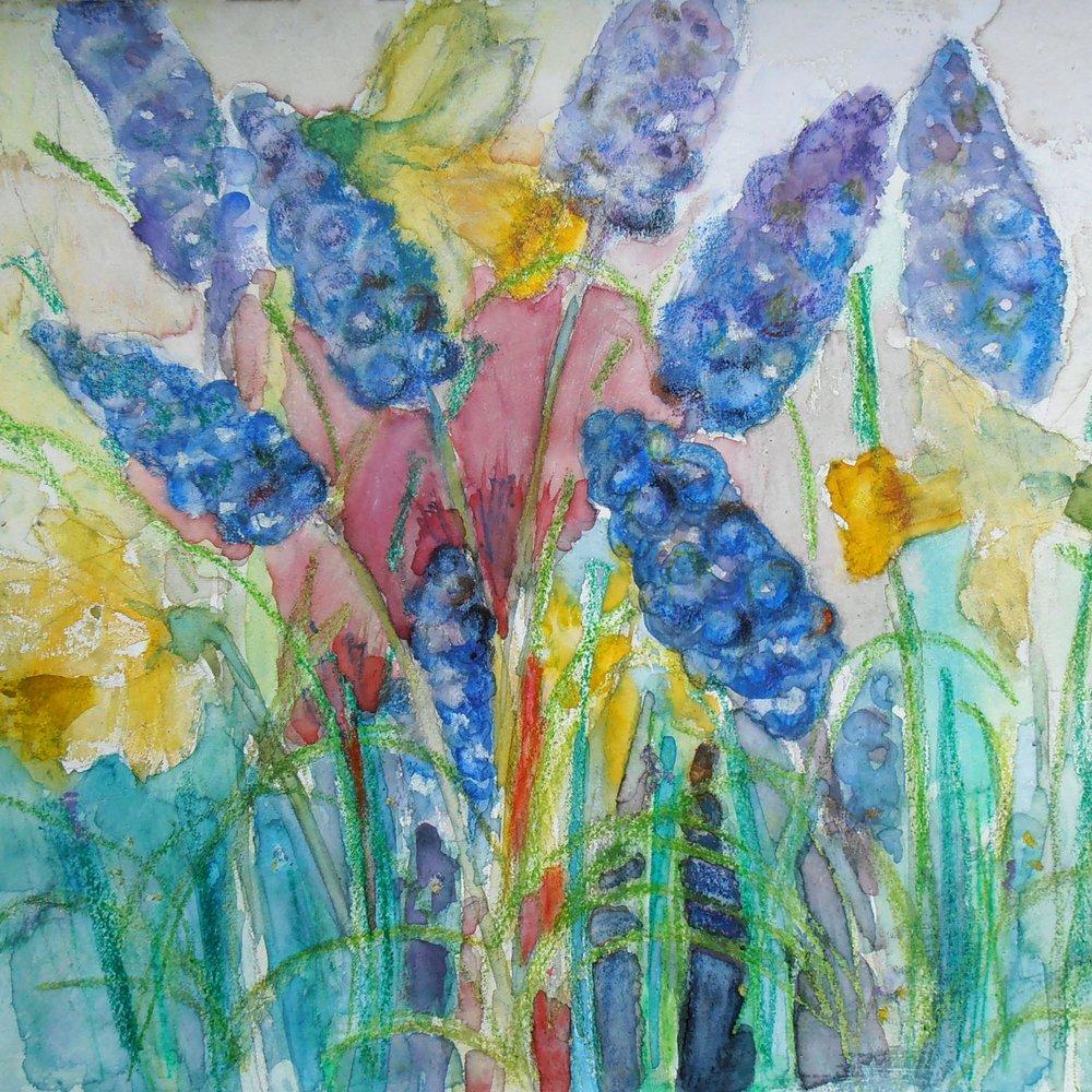 mixed media painting Grape Hyazinths