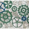 Cogs and pipes. Linoprint