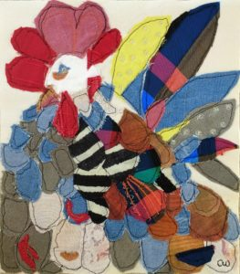 fabric collage Rooster